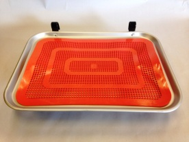 Large car hop tray with orange plastic mat